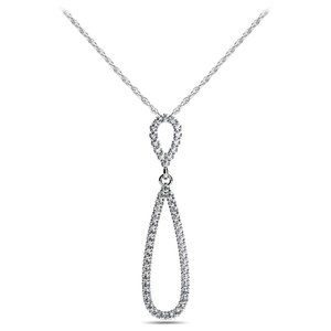 Jewelry - Double tear drop shaped pendant necklace 5.20 ct d
